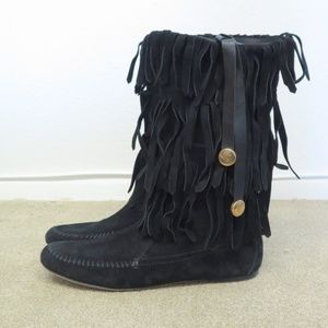 Gucci Boot Venere Fringed Suede Moccasin